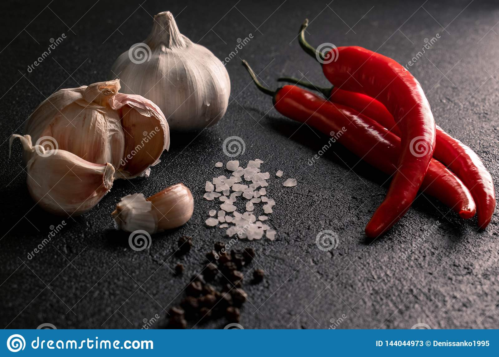 Garlic with chili coarse sea salt and black pepper