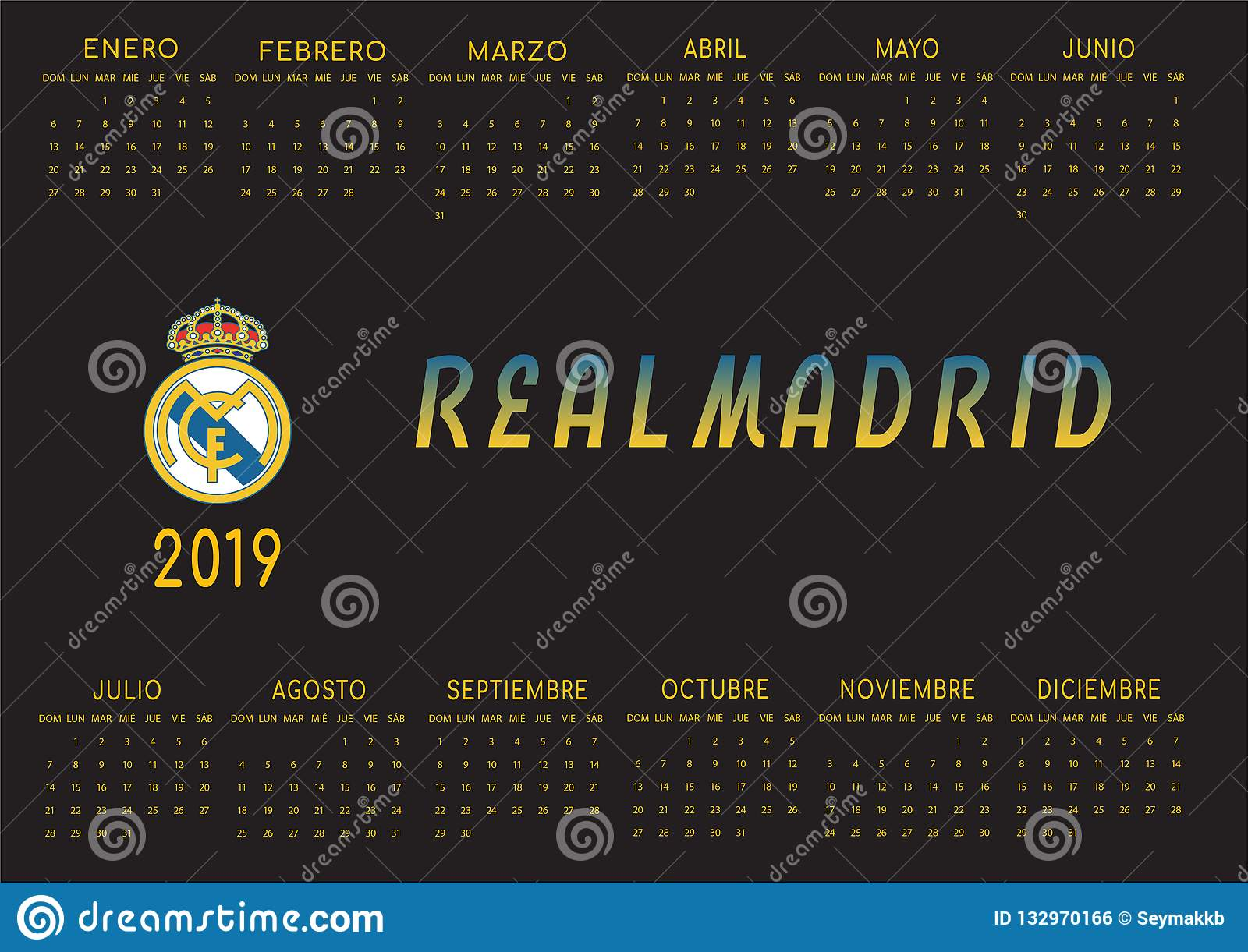 Calendario Del Real.Black Backgrounded 2019 Real Madrid Calendar Editorial Photo