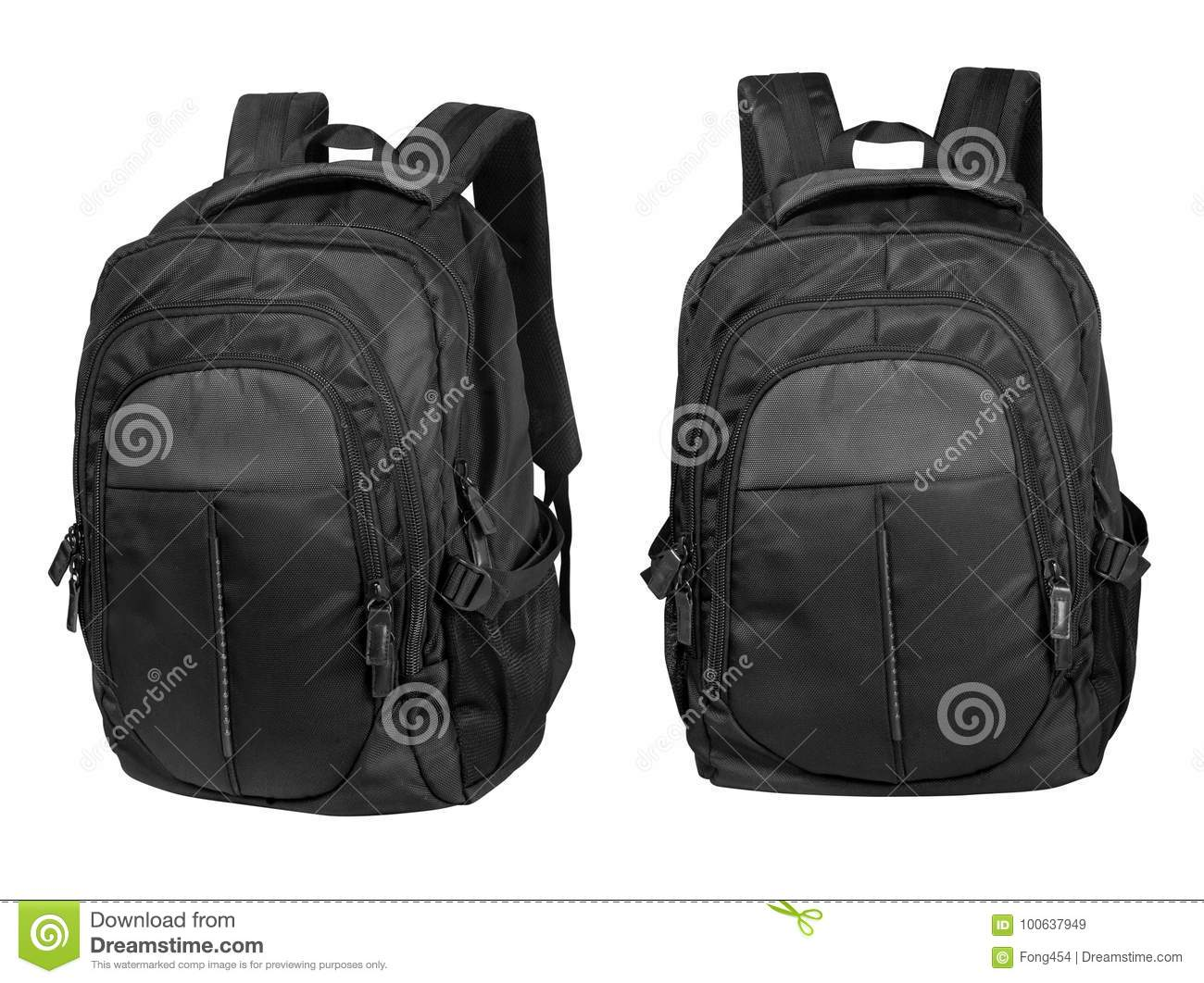 Black backpack isolated on white with clipping path