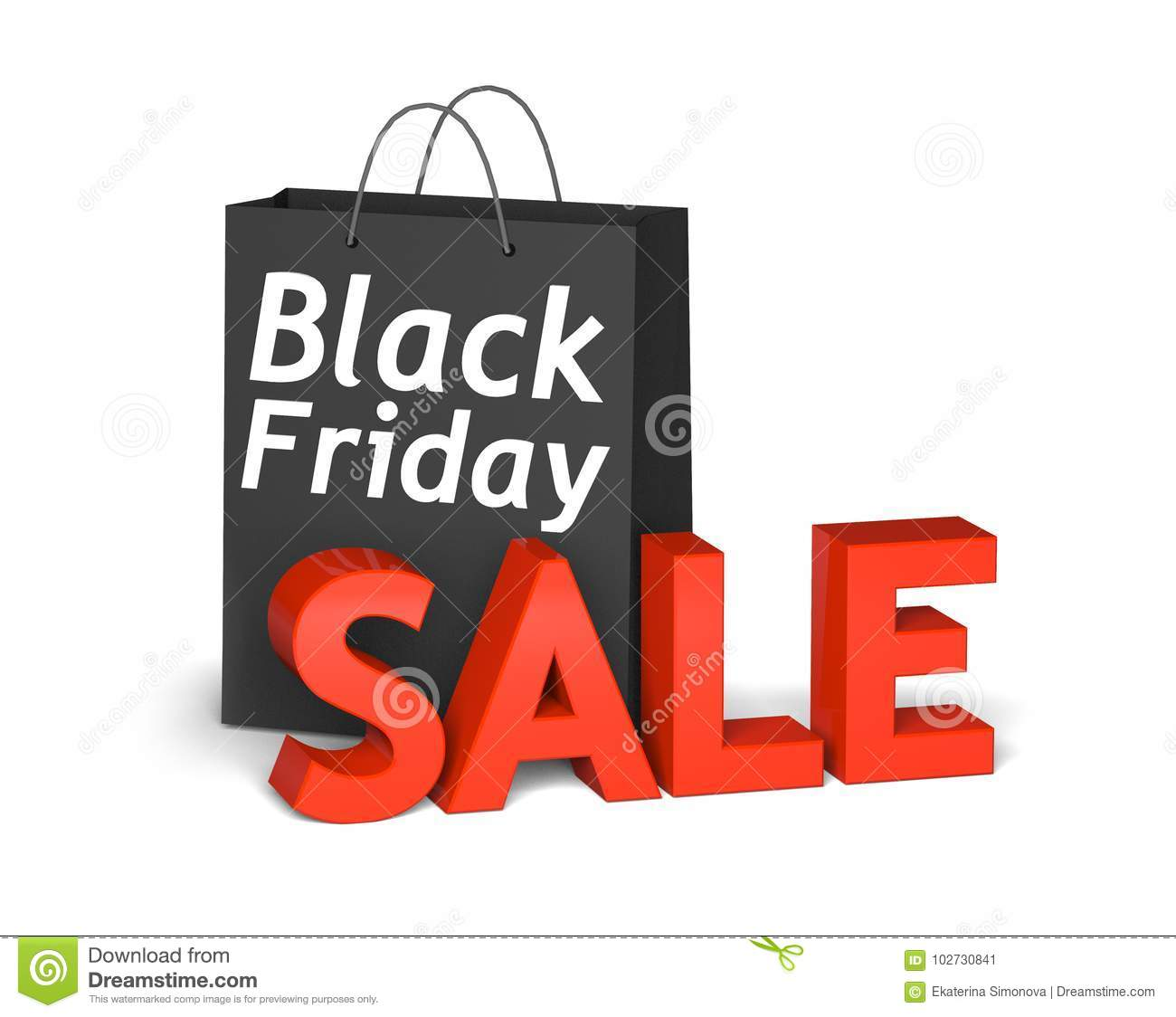 1f41cf9c759 Black bag with the white words Black Friday and 3d red text sale . 3D  render illustration. More similar stock illustrations