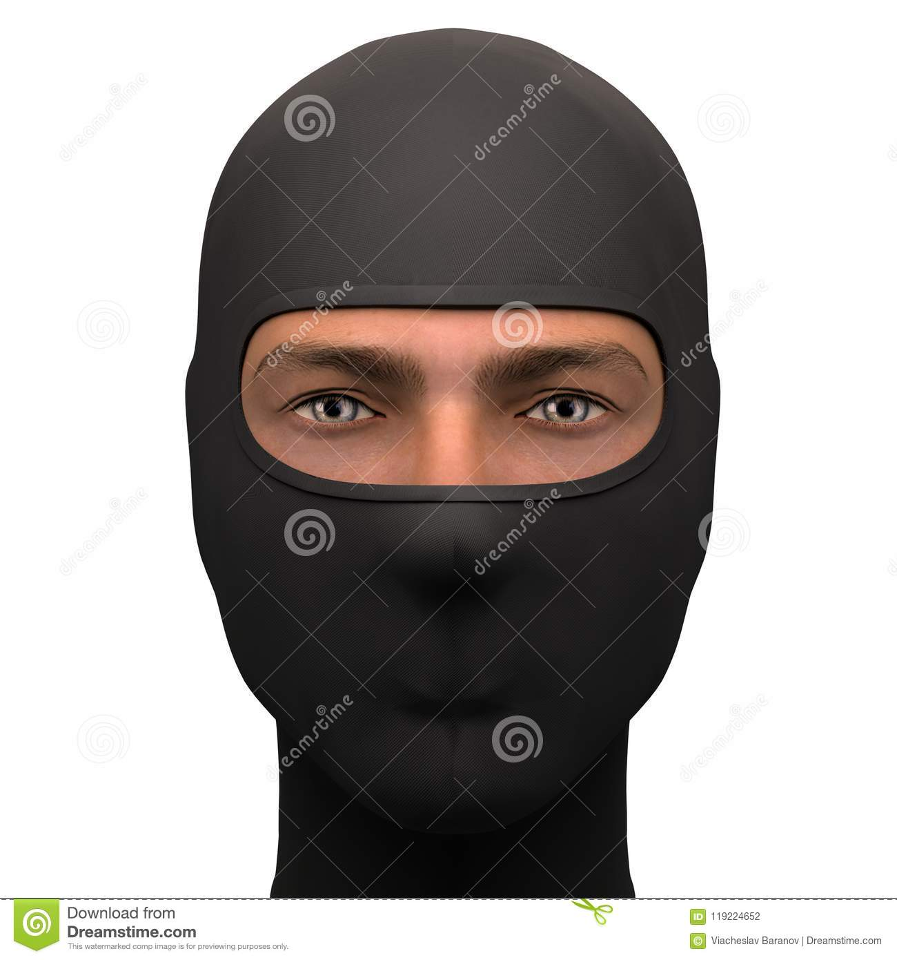 549072072914 Balaclava mask. Symbol of criminal and hacker. Also Equipment for special  forces or winter sport. Warm fabric material. Front view.