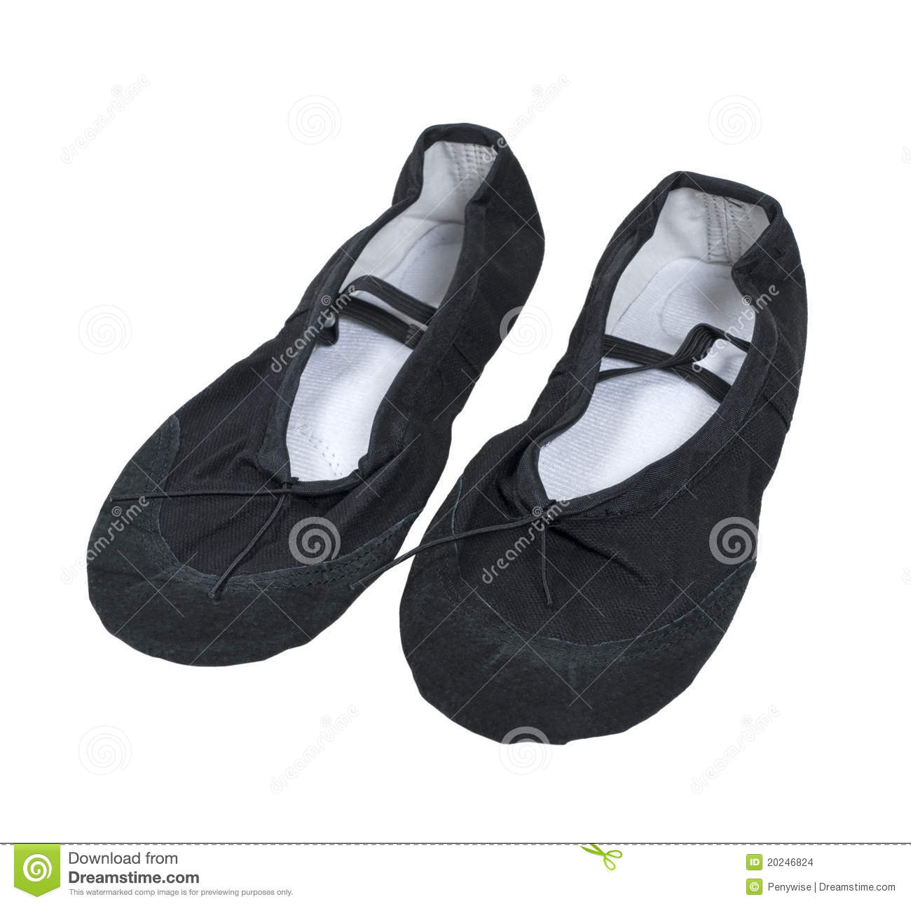 Black ballet slippers worn while dancing ballet.