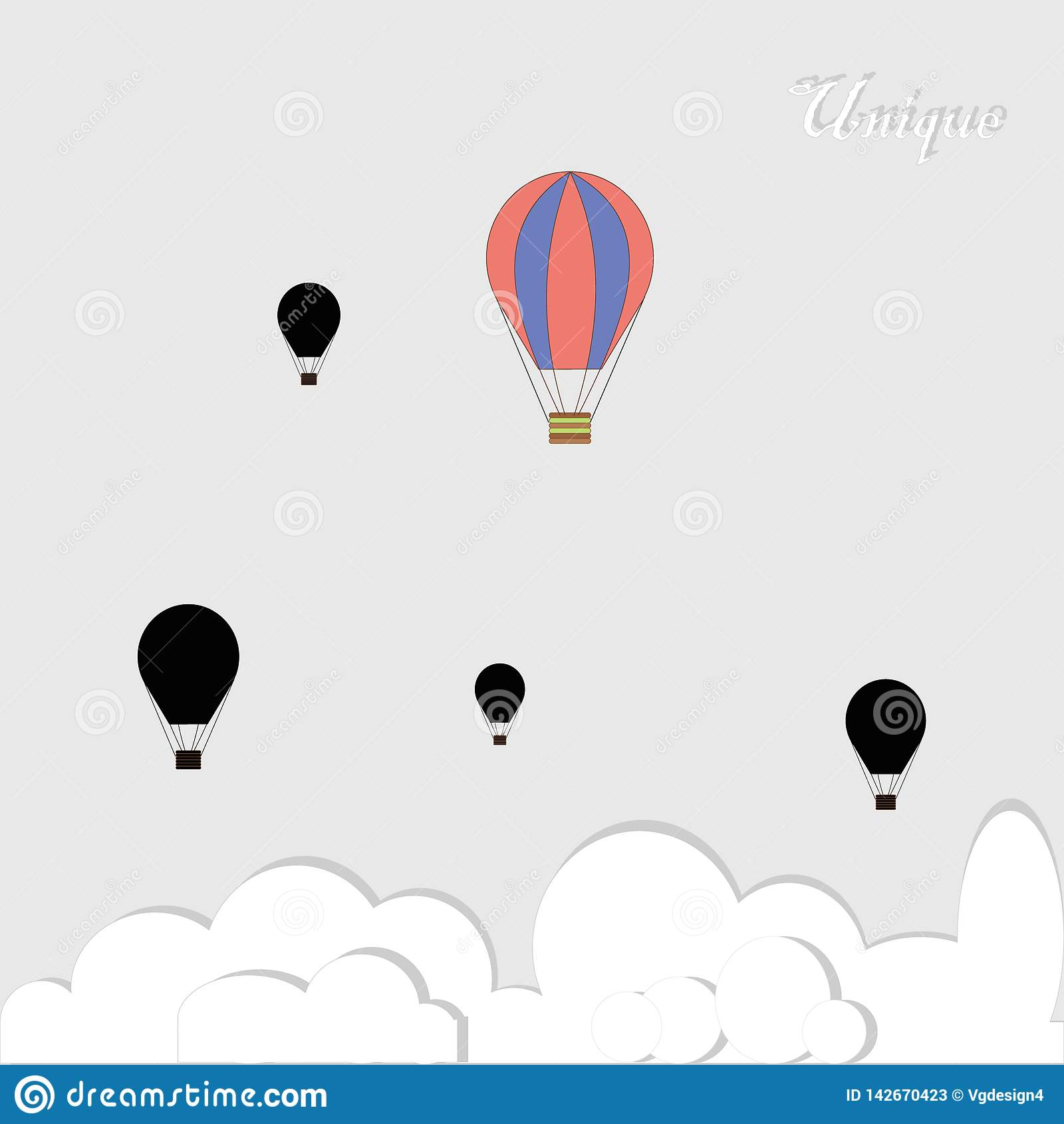 Black baloons and one colorful in competition on grey background