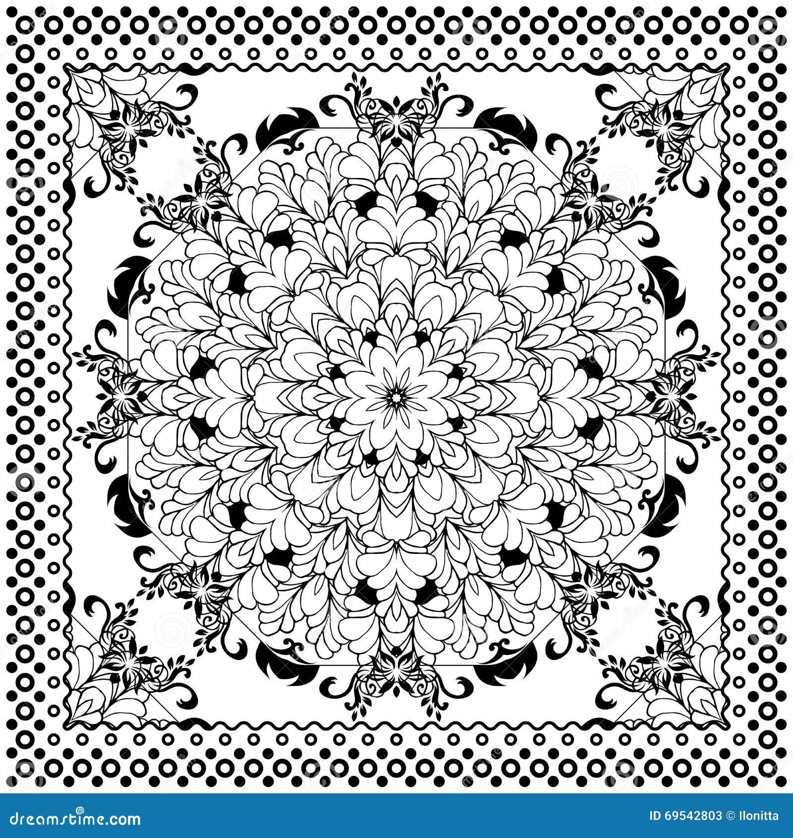 Black Bandana Print Design. Fabric Pattern For Silk Scarf. Stock ...