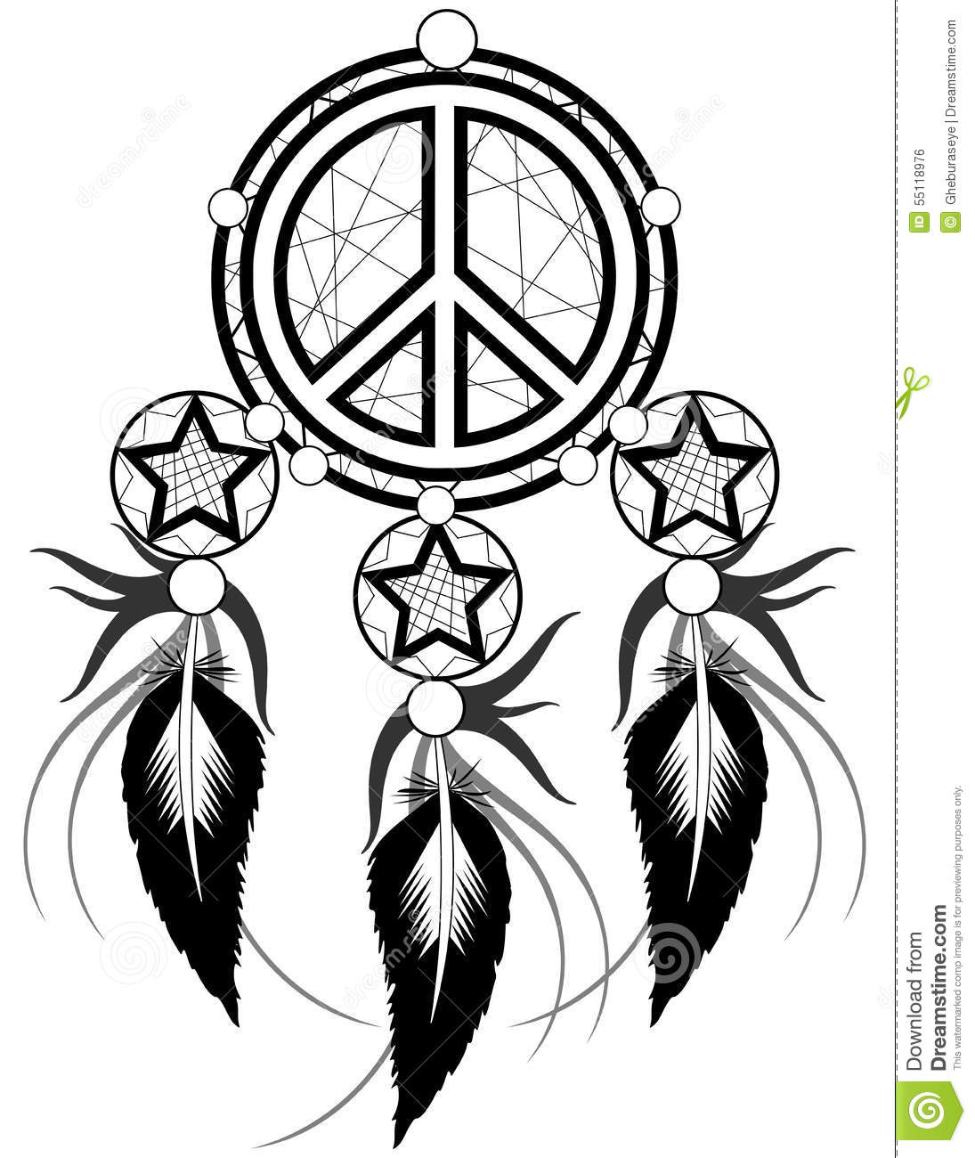Black Banishes Thoughts With Symbol Of Peace Stock Vector