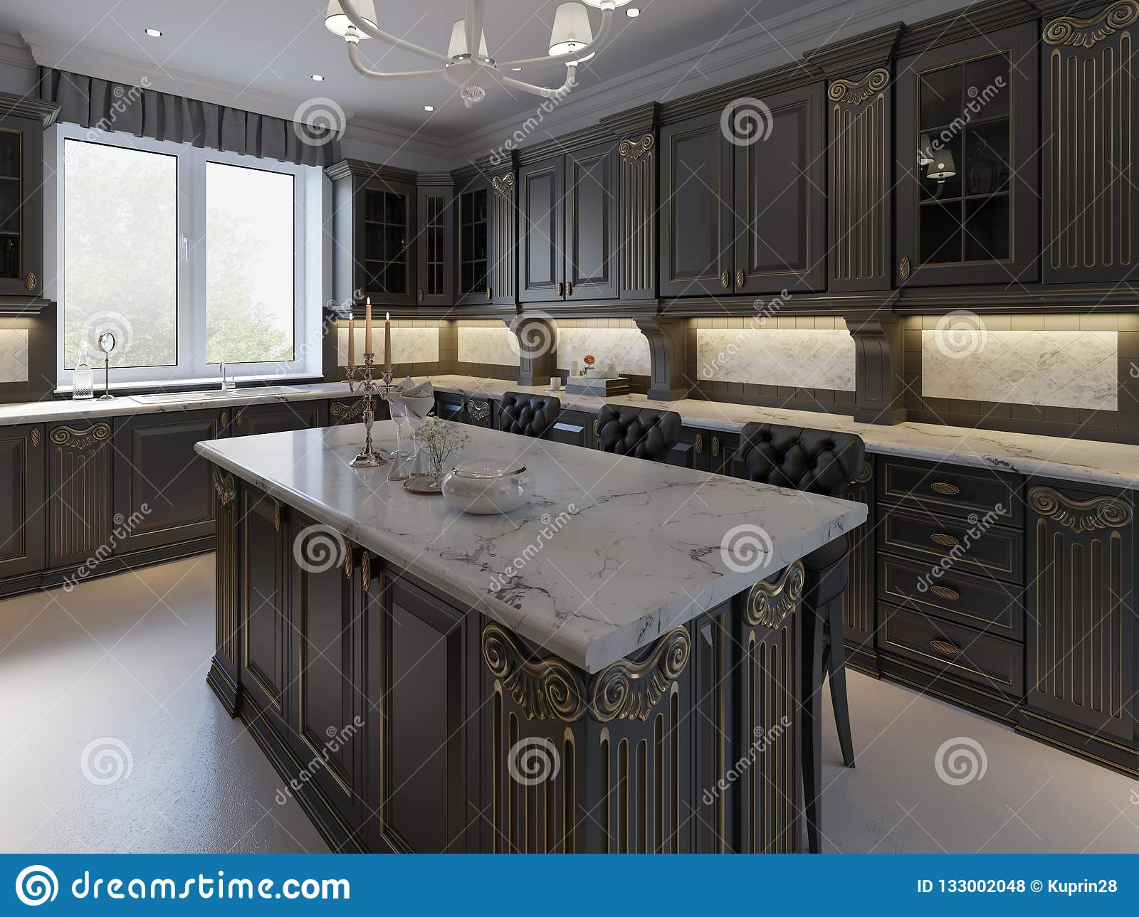 Black Bar Stools At Kitchen Island In Bright Living Room ...