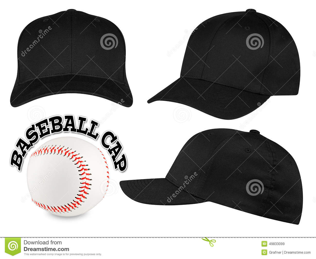849cd27f9c4 Black baseball cap set stock image. Image of background - 49833099