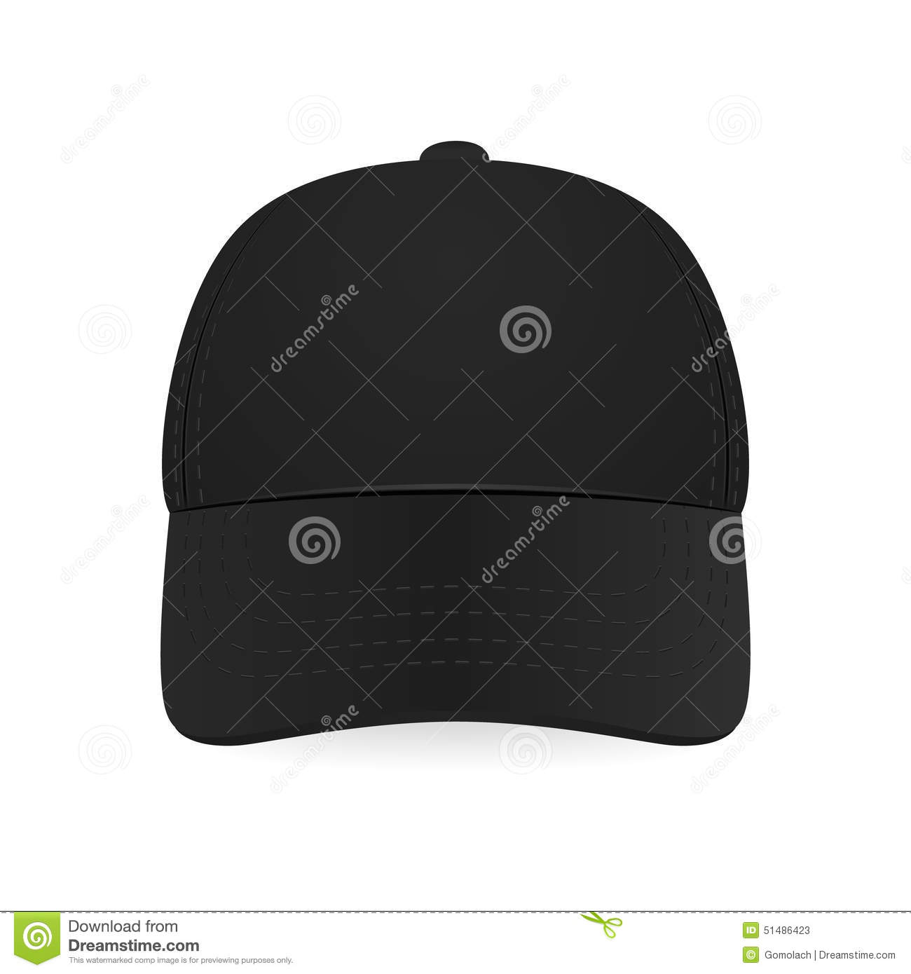 black baseball cap stock vector image 51486423. Black Bedroom Furniture Sets. Home Design Ideas
