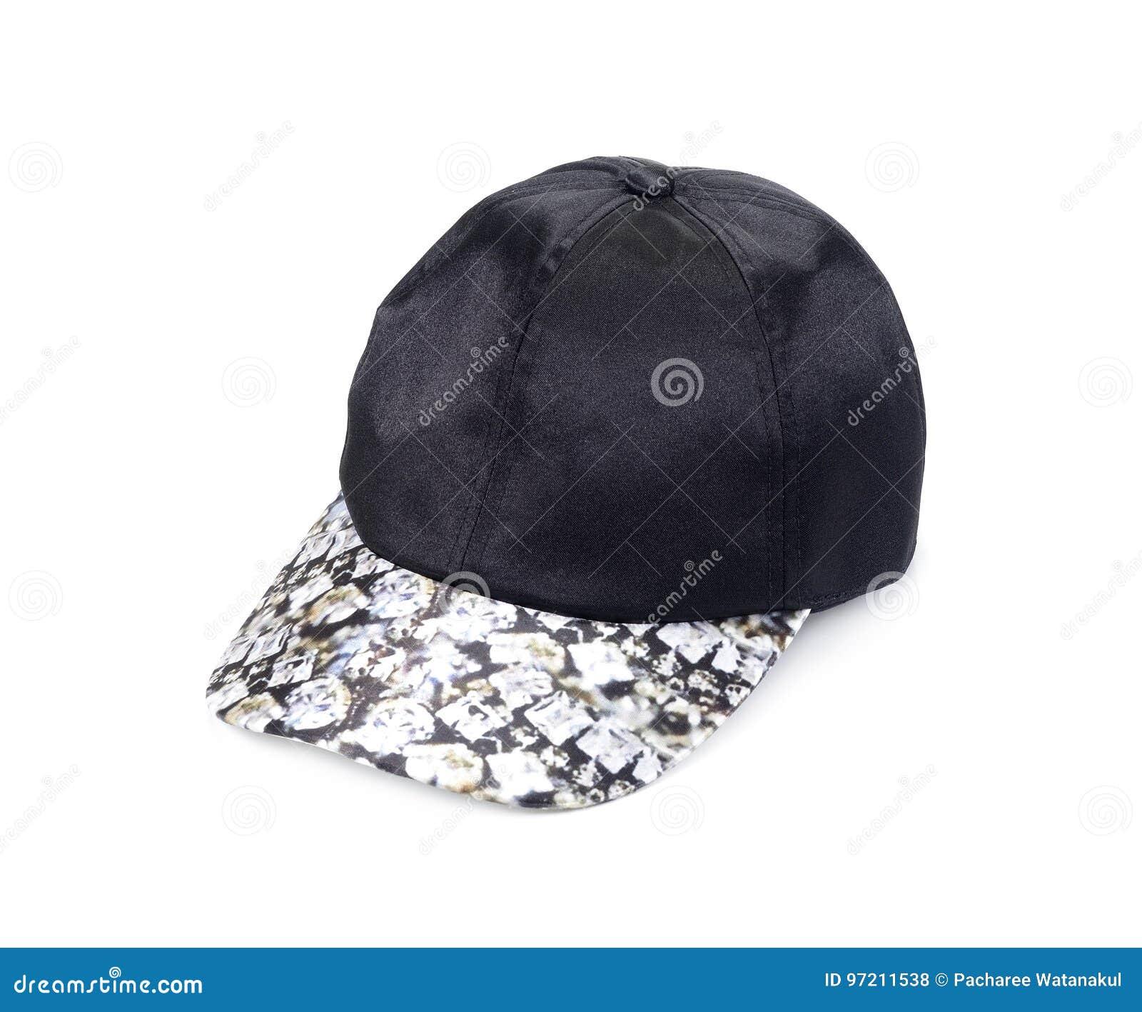 Black baseball hat, Men`s cap on a white background