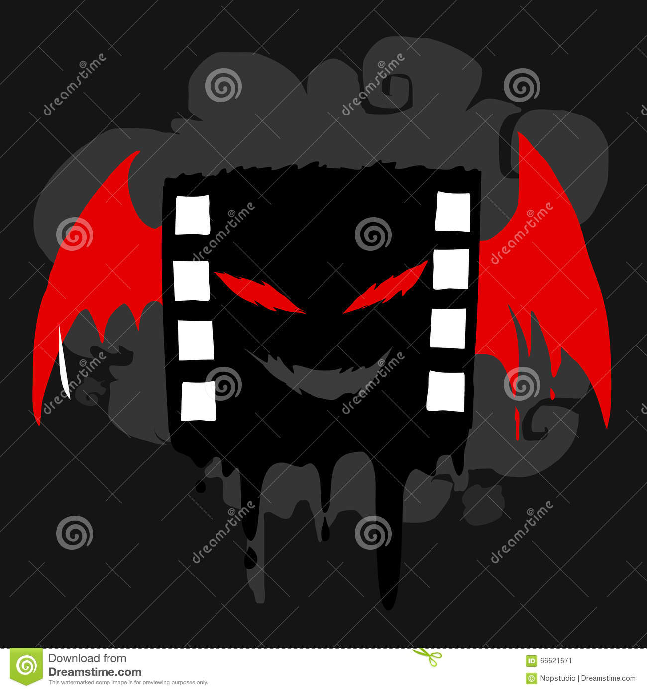 Black bat movie film stock vector  Illustration of