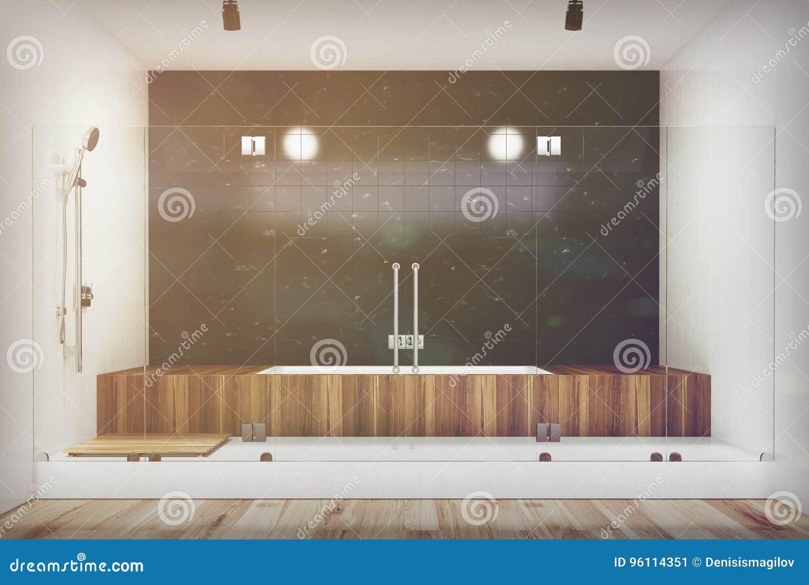 Black Bathroom Interior Wooden Tub Shower Toned Stock Illustration