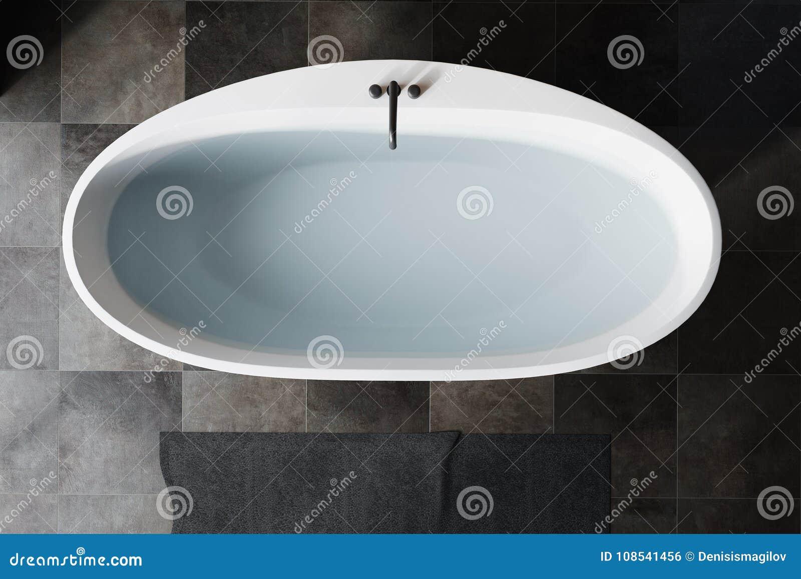 Black Bathroom White Tub Top View Stock Illustration - Illustration ...