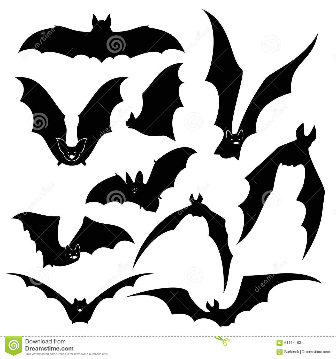 Gothic Design Black Bats Vector Silhouettes Set Stock Vector Image