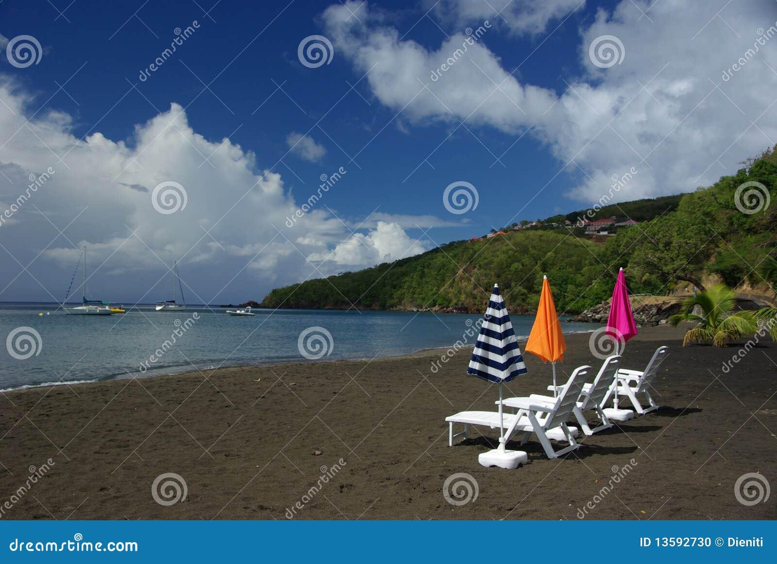 Black beach on Guadeloupe
