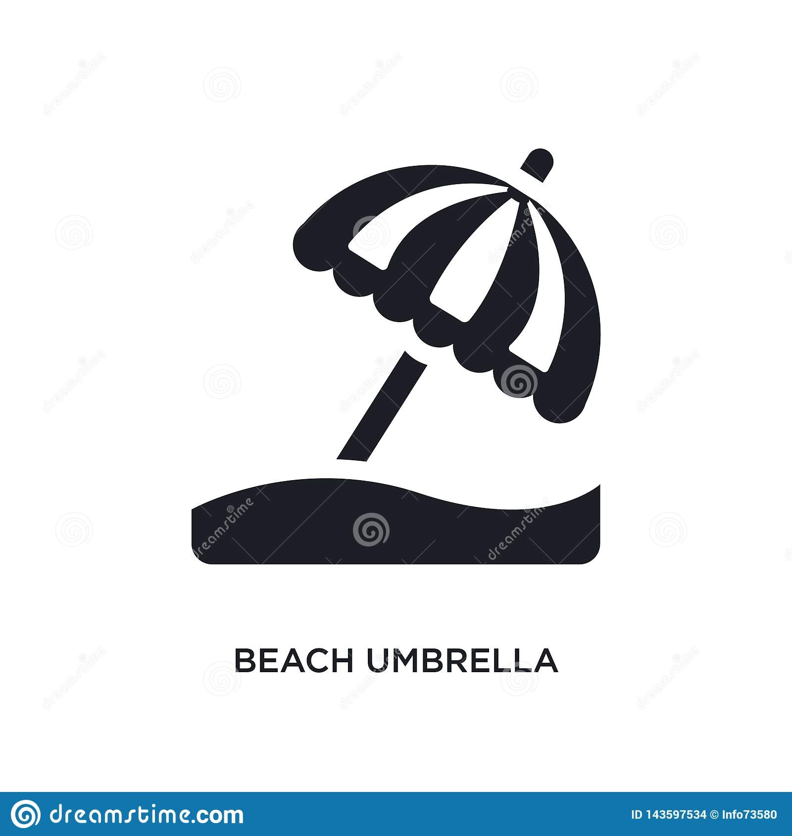 black beach umbrella isolated vector icon. simple element illustration from accommodation concept vector icons. beach umbrella