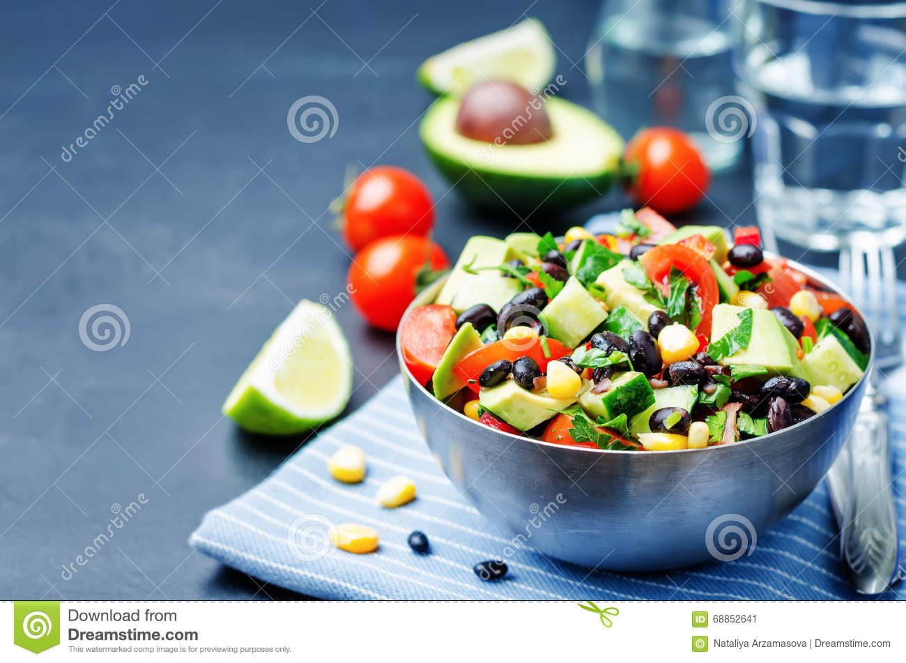 Black Beans Corn Avocado Cucumber Tomato Salad With Lime Dressin Stock ...