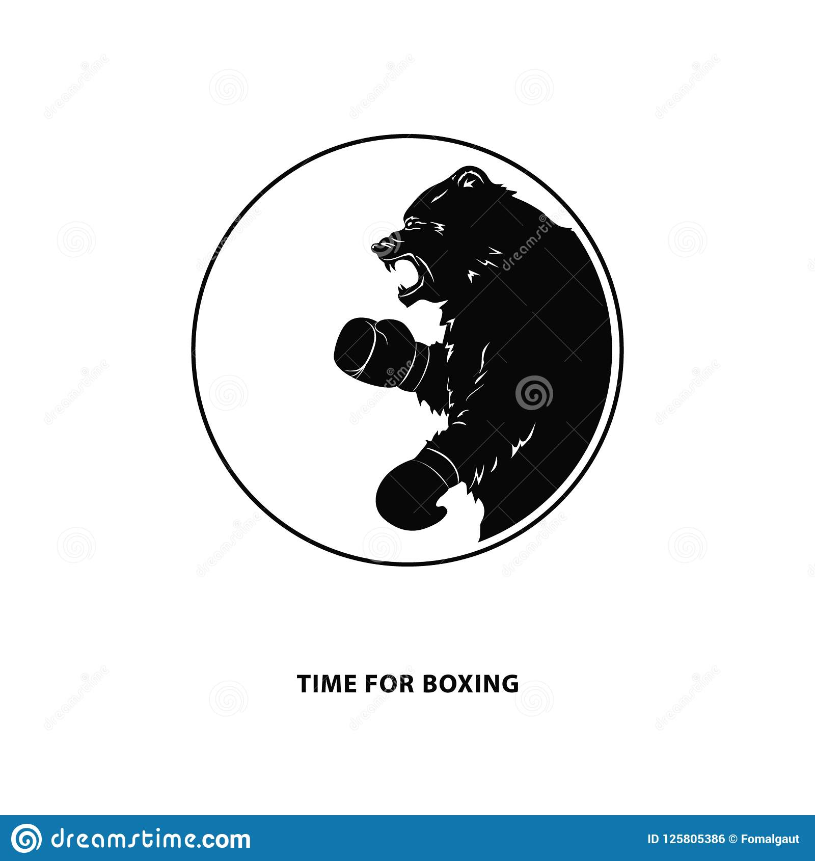 black bear in boxing gloves silhouette of a wild animal round