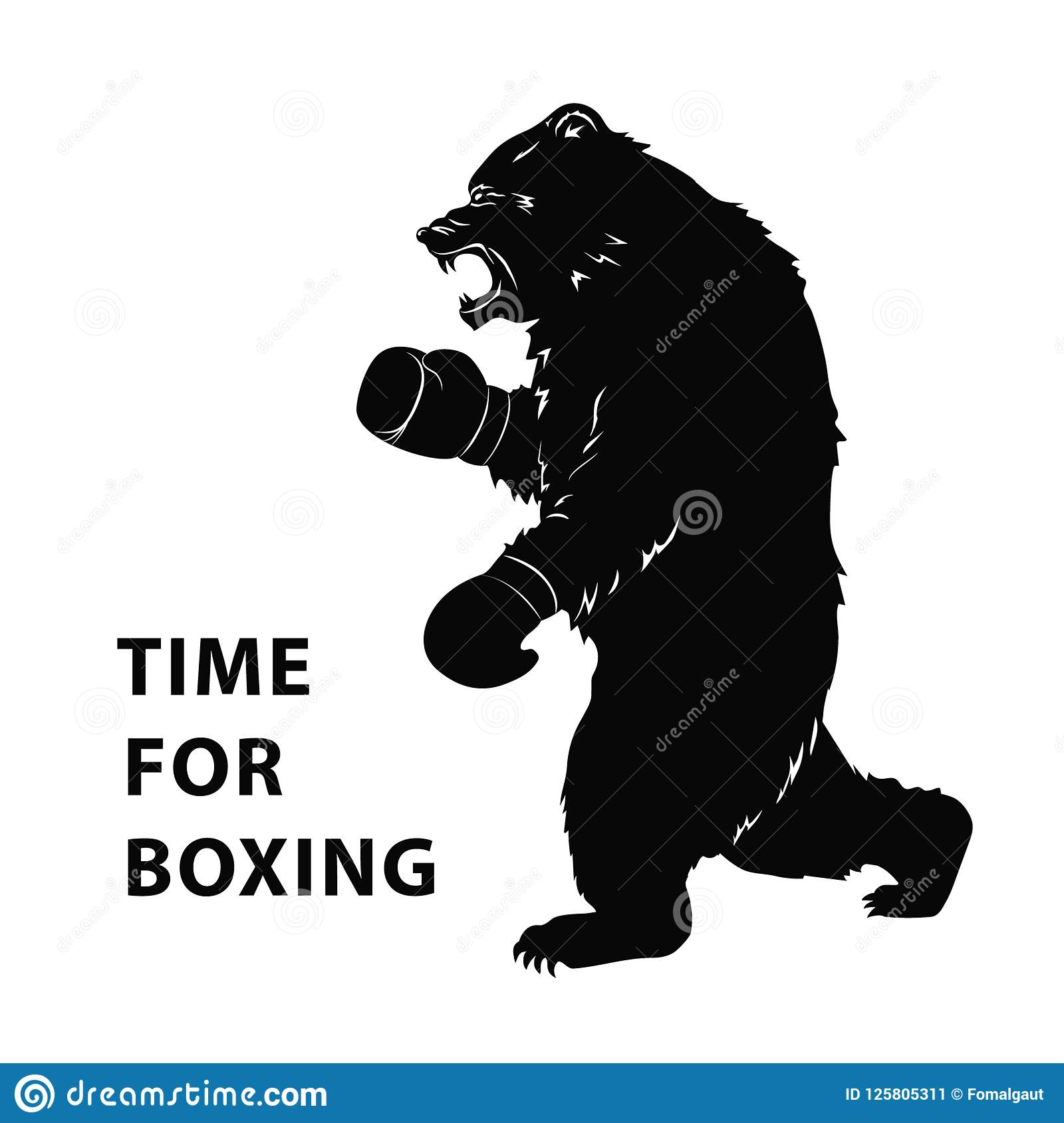 black bear in boxing gloves silhouette of a wild animal for sport
