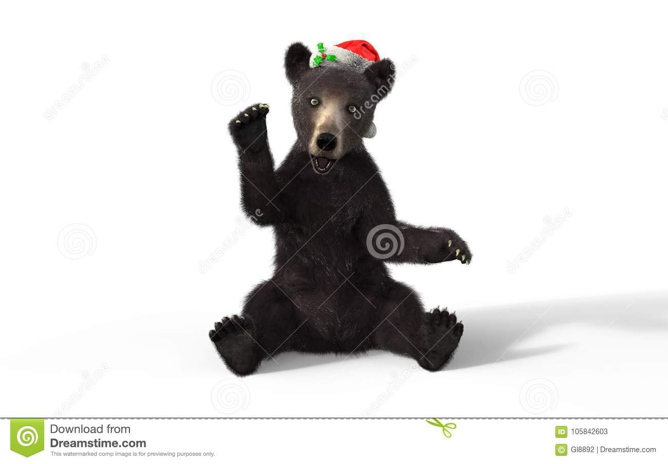 eaae9f94c3a Black Bear Cub With Clipping Path And Santa Hat. Stock Illustration ...