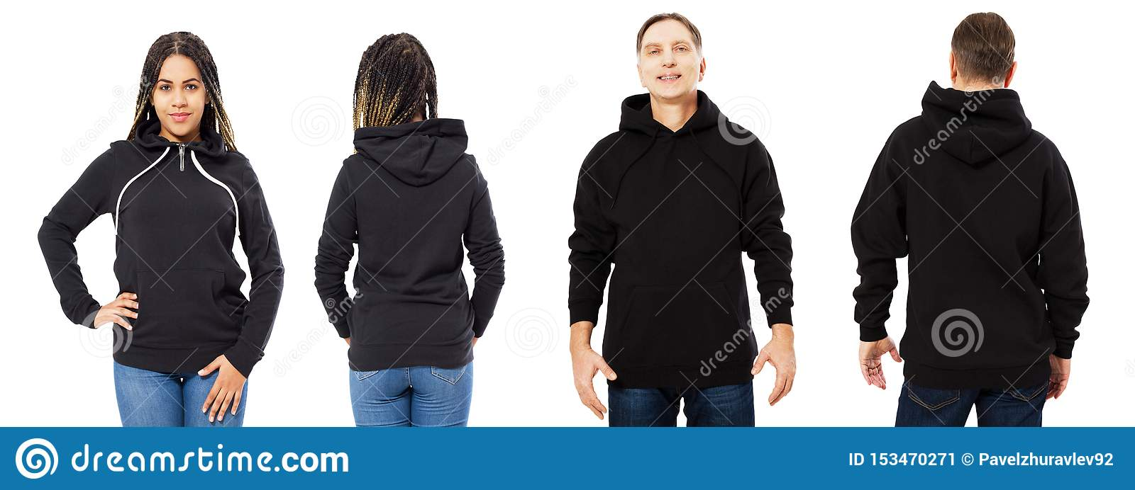 Black beautiful woman and middle-aged man in black hoodie mock up isolated over white background