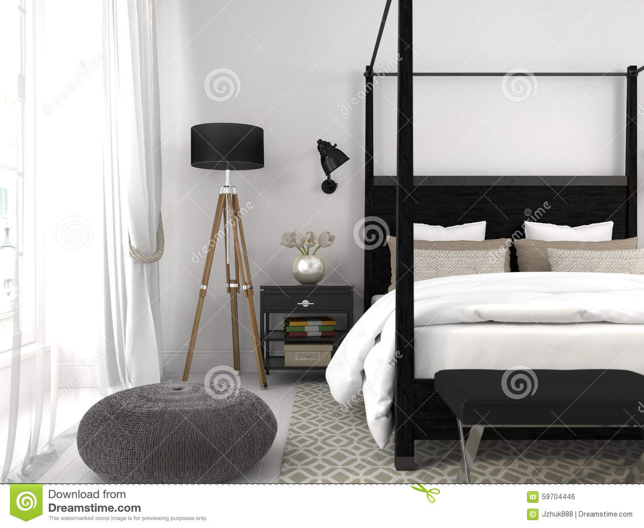 Black Bed In A White Room Stock Photo Image Of Luxury 59704446