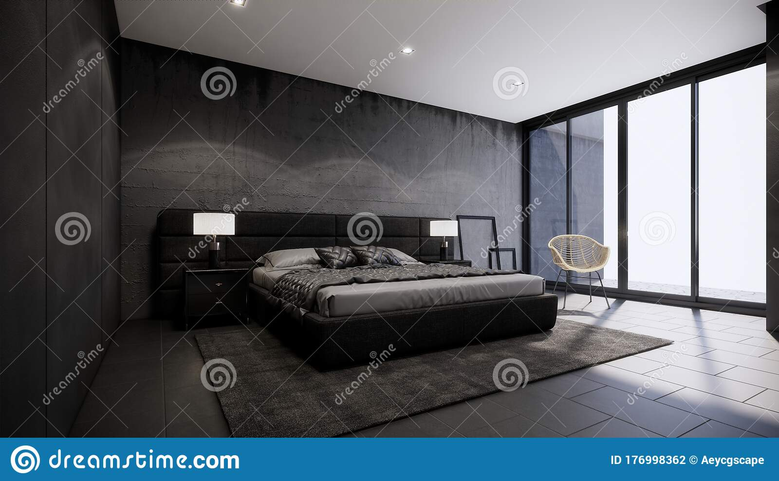 Black Bedroom Concept With Modern And Loft Interior Design 3d Rendering Background Stock Illustration Illustration Of Bedroom Beautiful 176998362