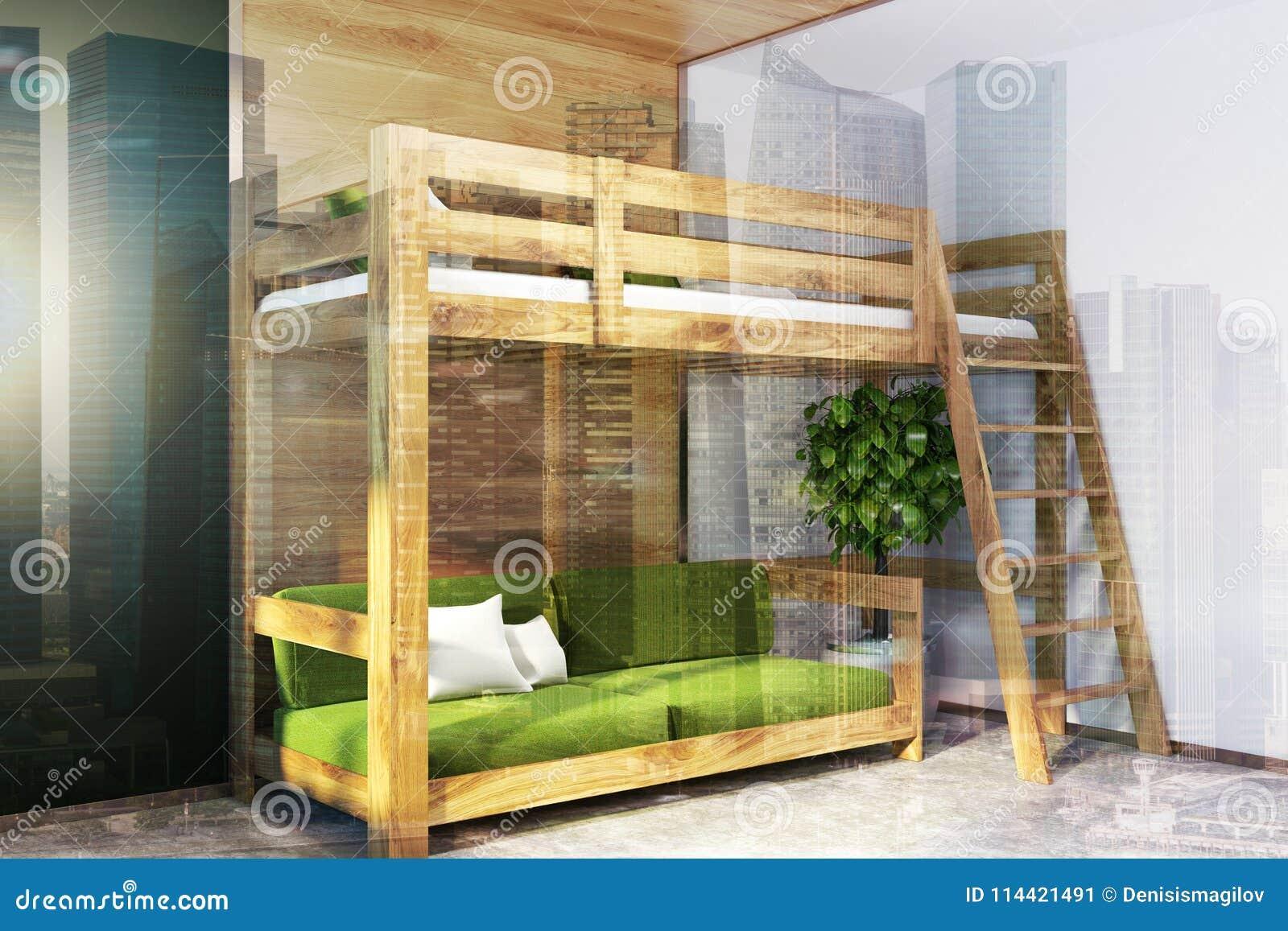 Black Bedroom Corner Green Loft Bed Toned Stock Illustration Illustration Of Gender Colorful 114421491