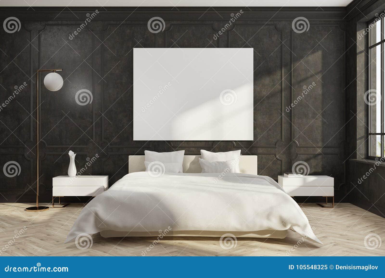Black Bedroom White Bed Poster Stock Illustration Illustration Of Poster Hipster 105548325
