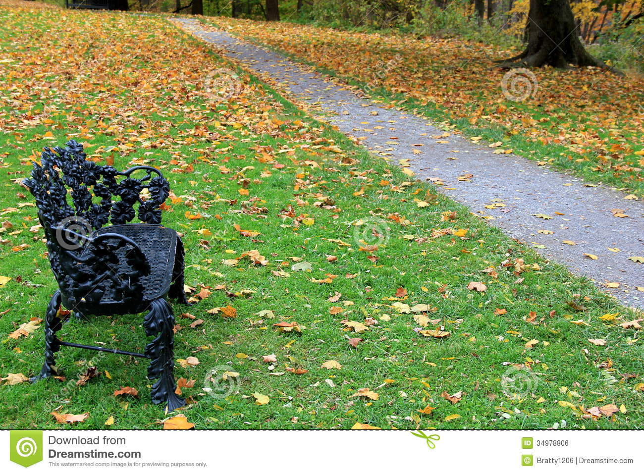 Black Bench On Secluded Path Royalty Free Stock Image - Image ...