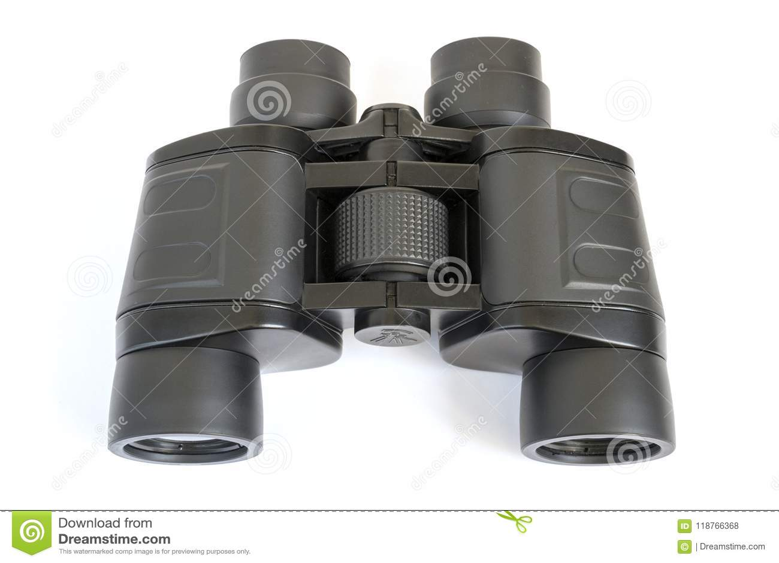 Black binoculars on a white background.