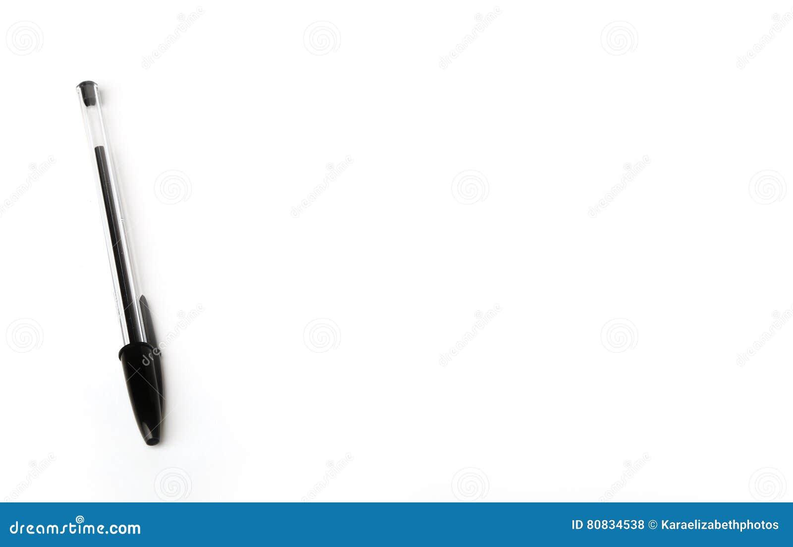Black Biro Pens On A White Background Stock Photo - Image of