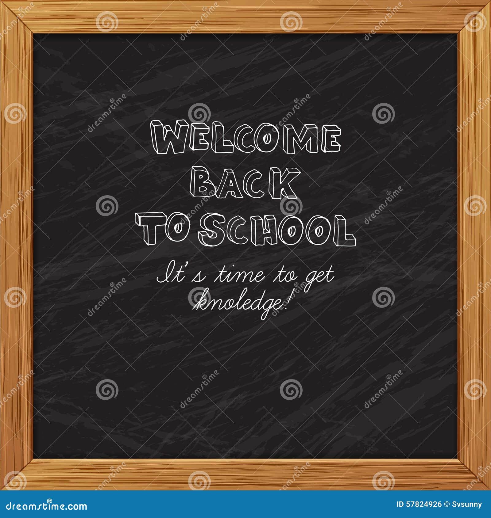 Black blackboard greeting card welcome back to school with woode black blackboard greeting card welcome back to school with woode m4hsunfo