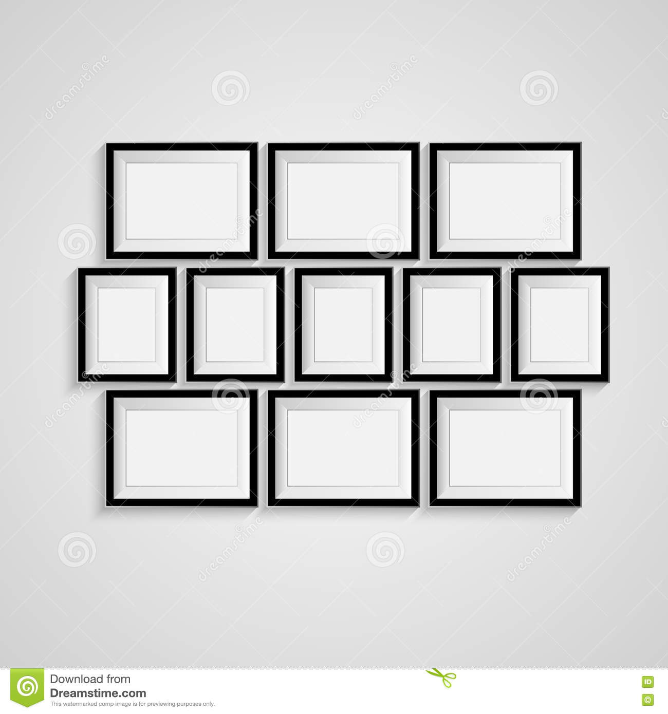 black blank picture frame template poster picture frame set vector royalty free stock