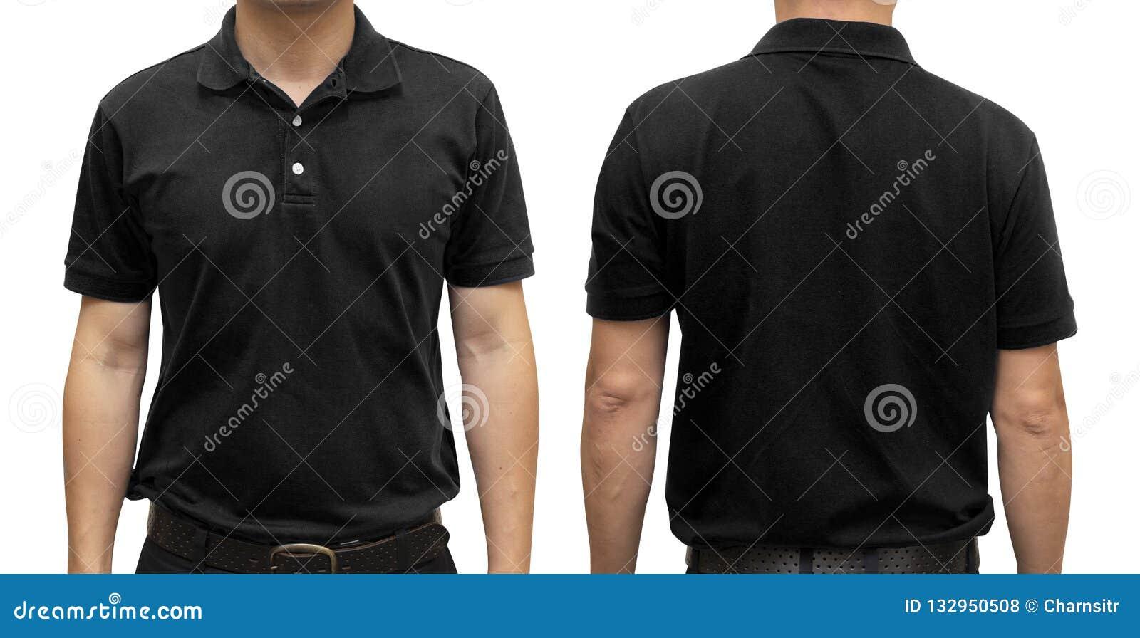 Black polo t-shirt on human body for graphic design mock u