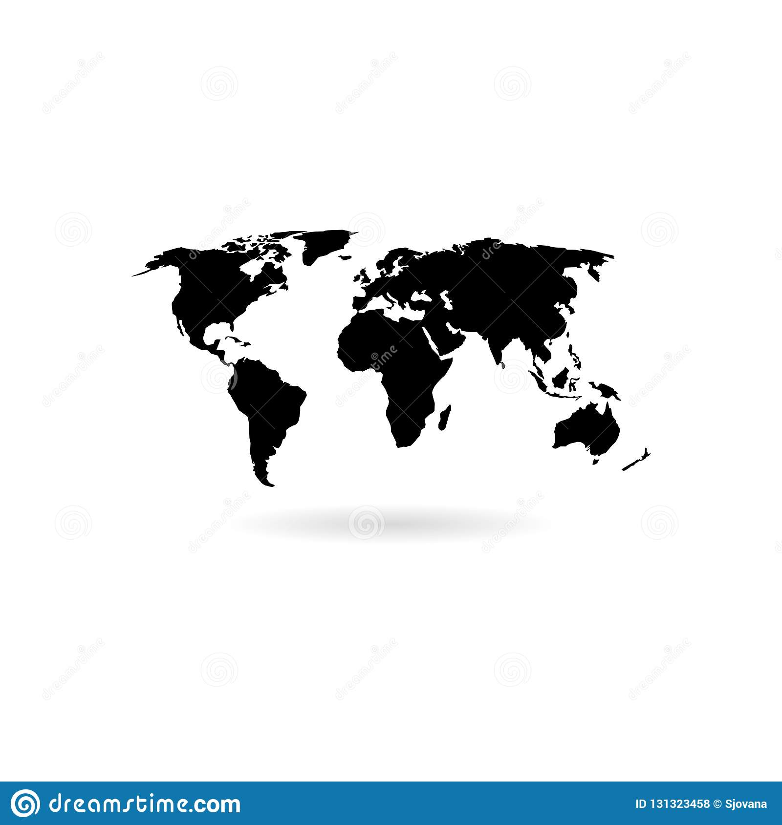 black blank world map icon or logo stock vector