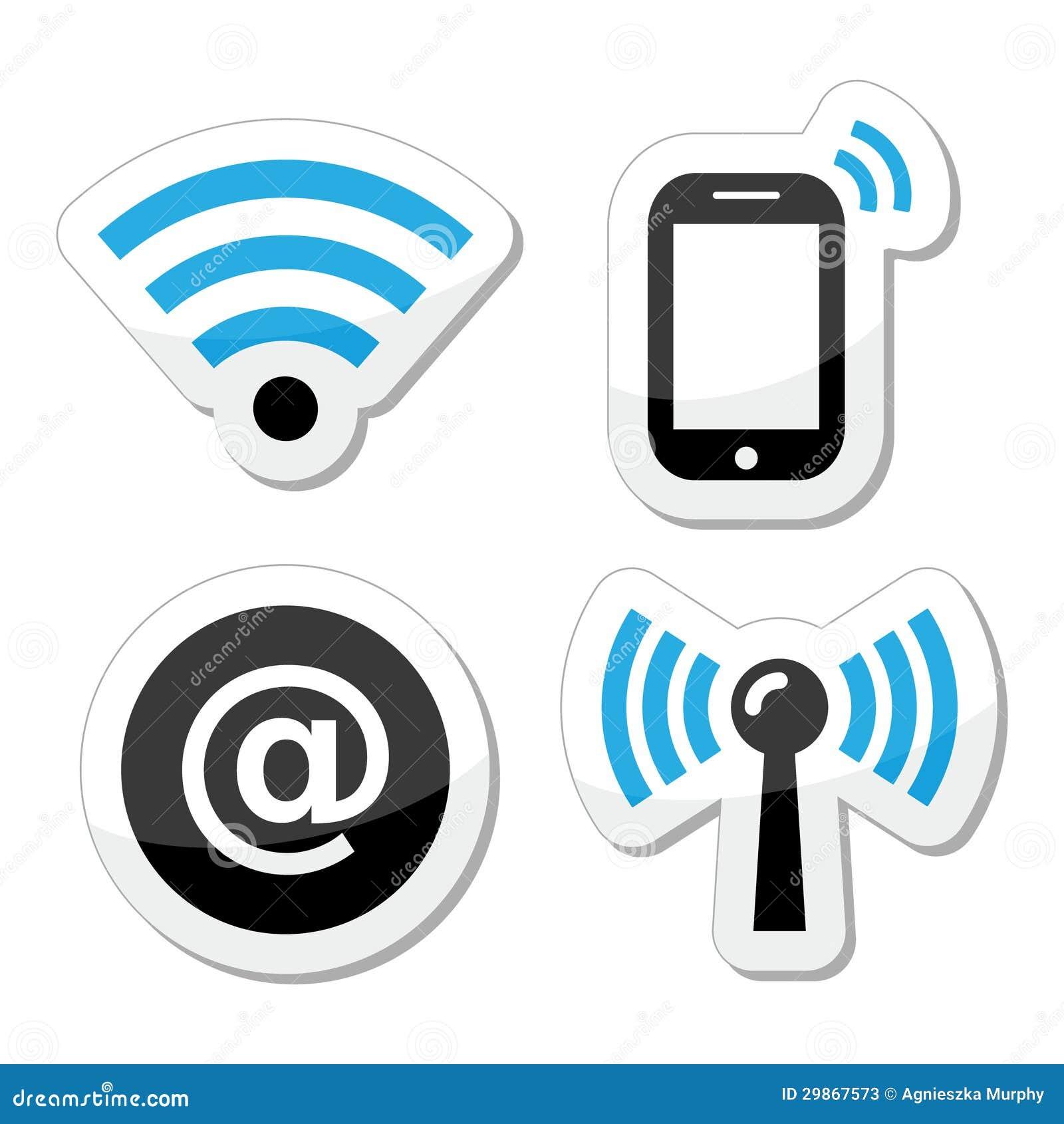 Wireless Internet Equipment ~ Wifi network internet zone icons set stock illustration