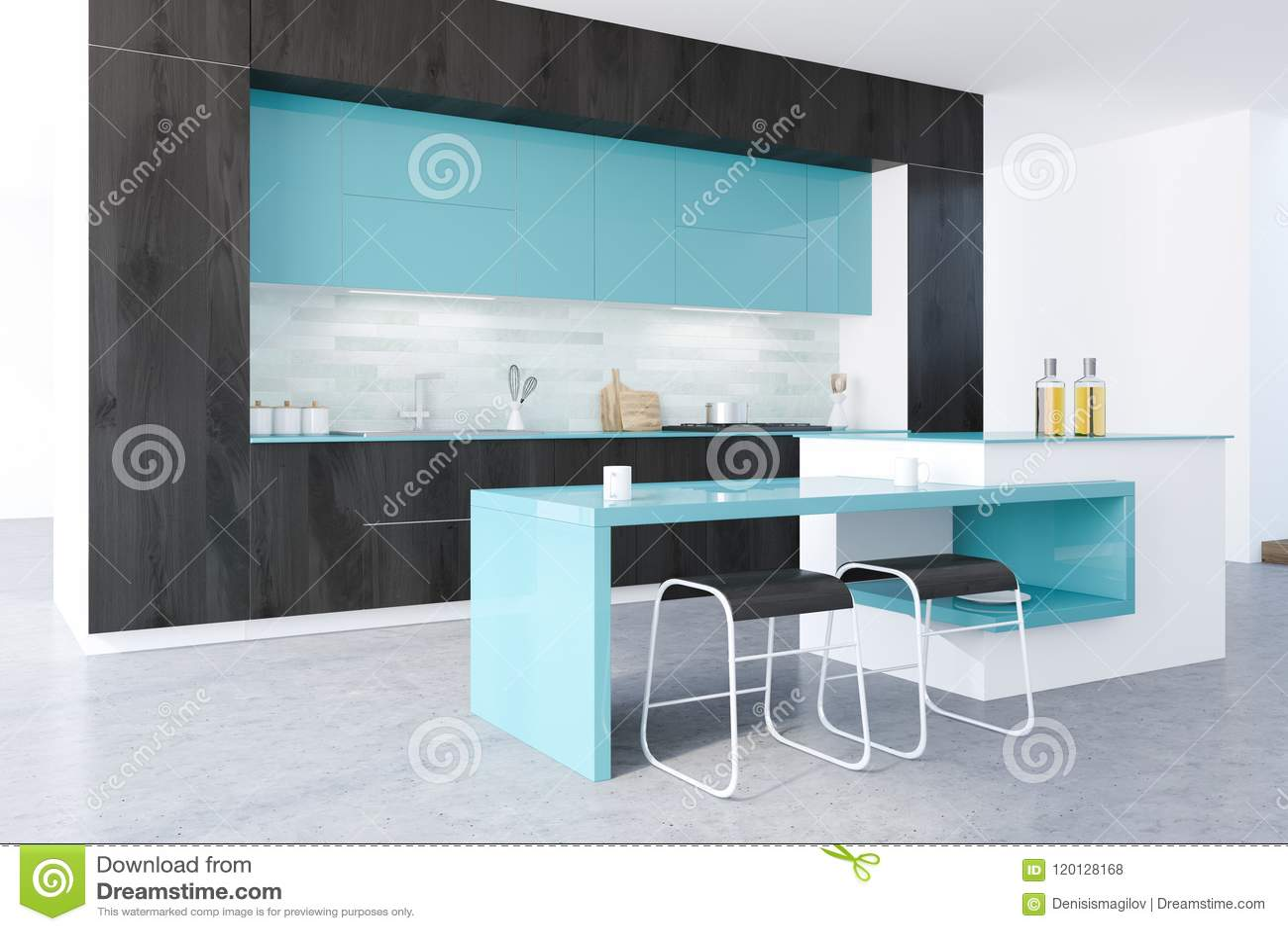 Black And Blue Original Kitchen Stock Illustration - Illustration of ...