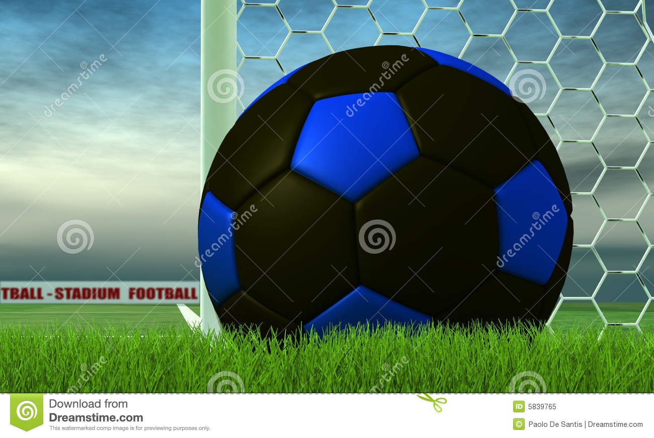 Black And Blue Soccer-ball On Green Royalty Free Stock ...