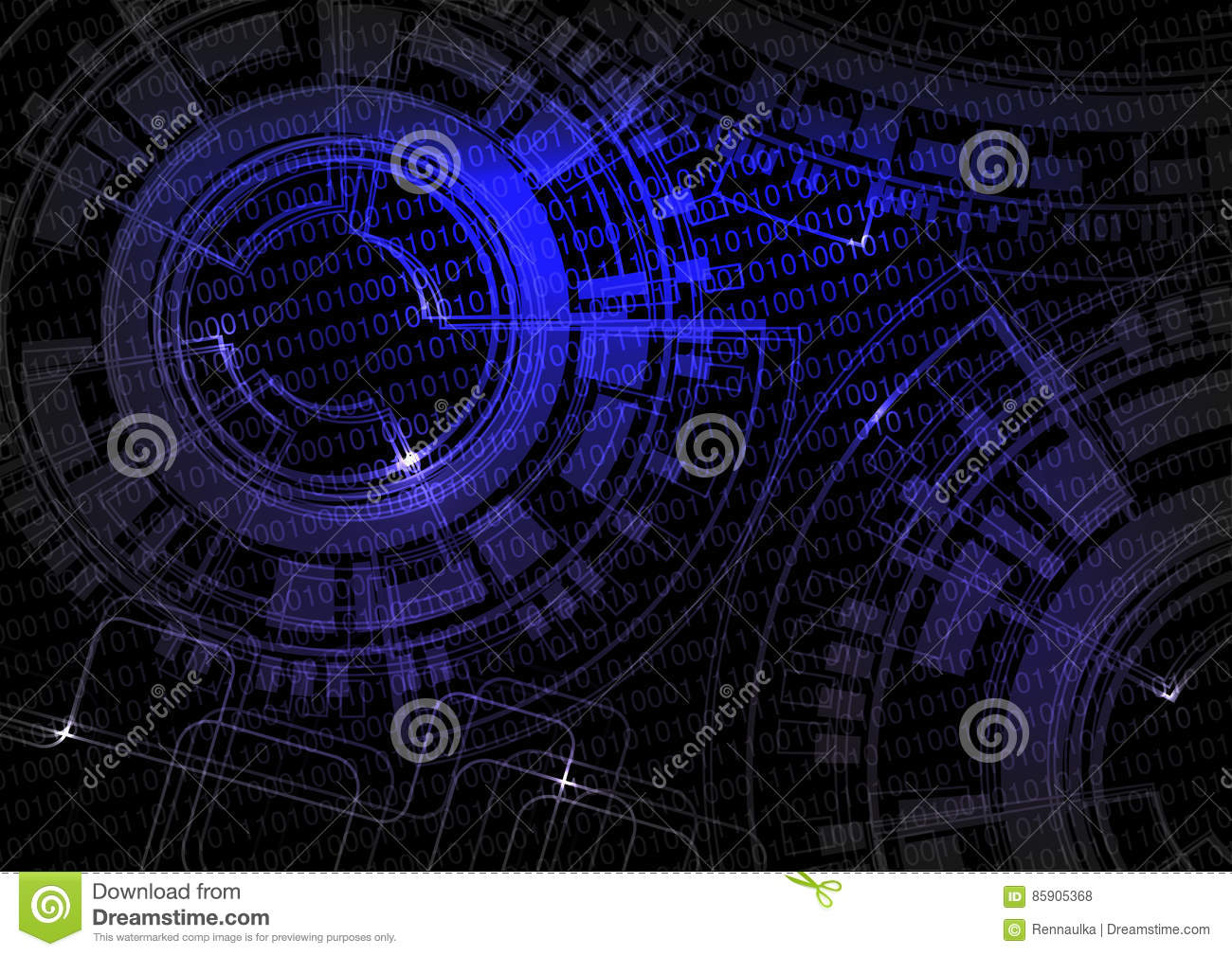 Black blue technology background with code and wheel design, future wallpaper