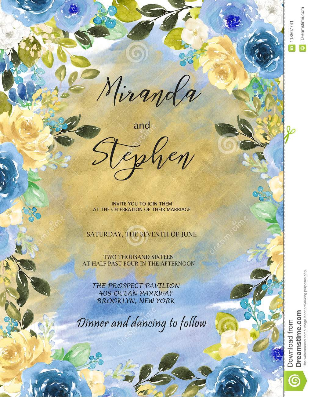 Black And Blue Watercolor Wedding Invitation Template Stock Illustration -  Illustration of roses, green: 118507741