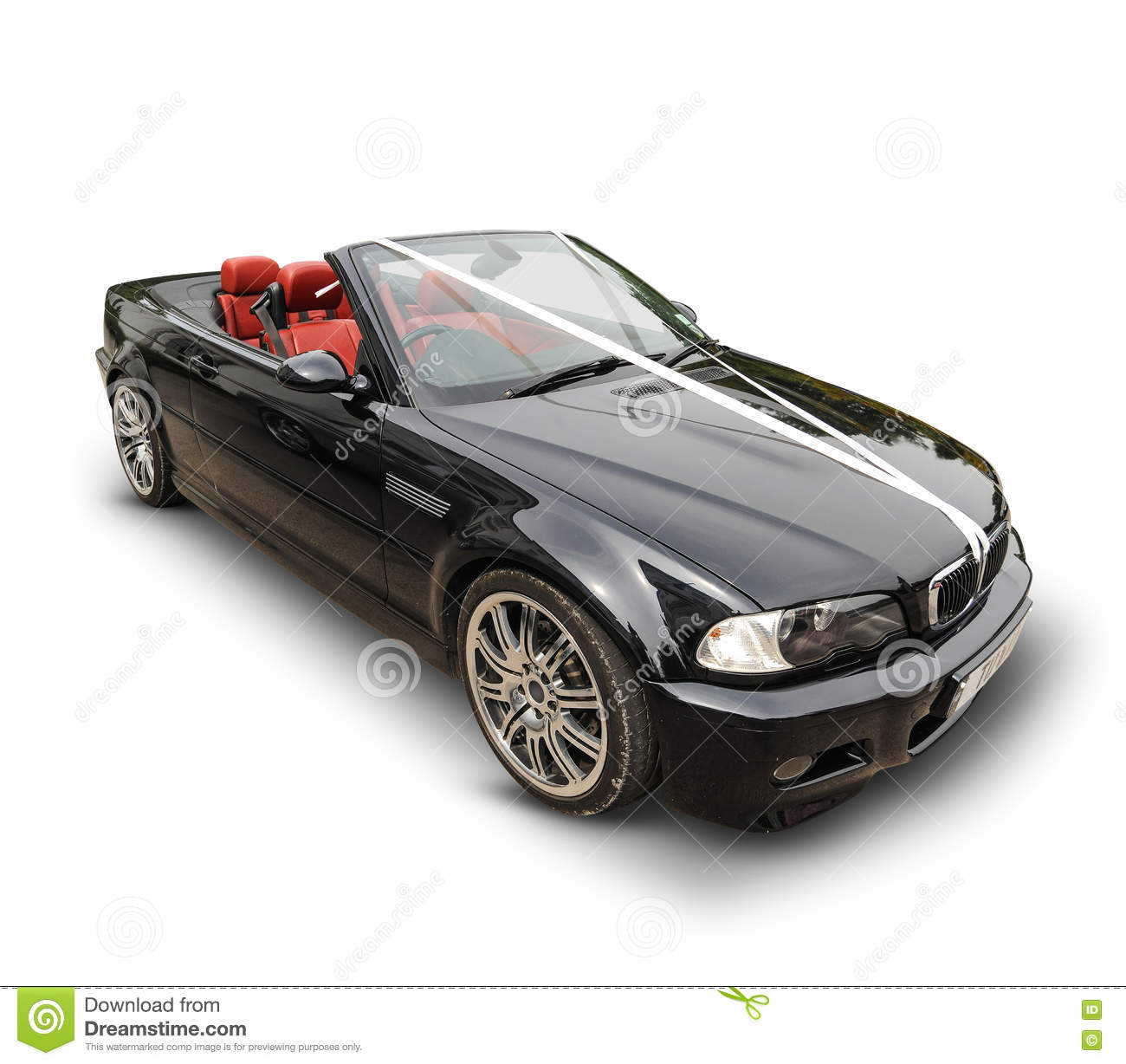 Bmw Sports Car: Black BMW Sports Car With White Ribbons Stock Photo