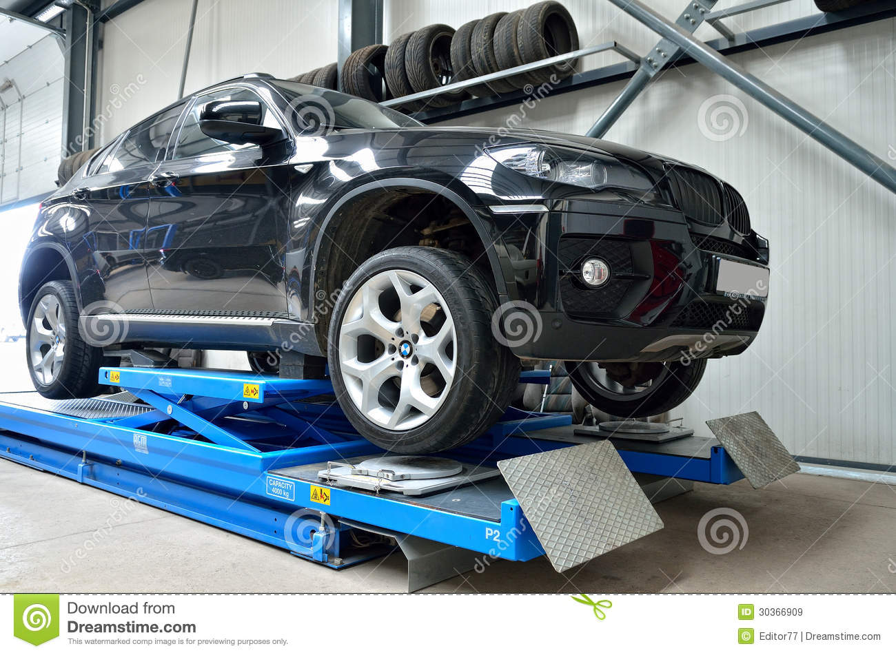Black Bmw X6 On Elevator Inside Car Service Editorial Stock Image Image 30366909