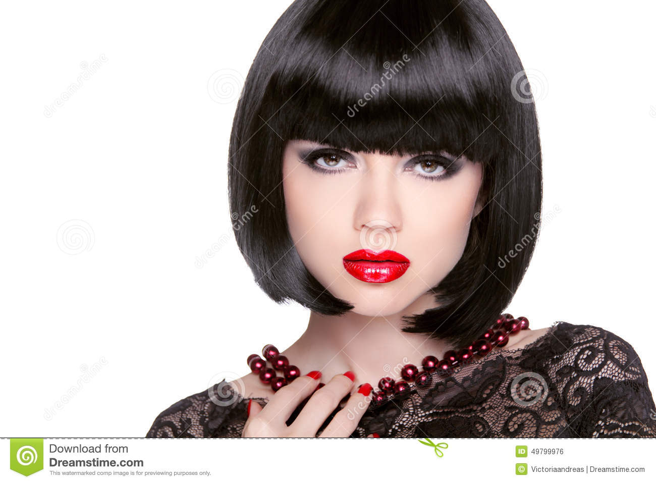 Black Bob Hairstyle. Red Lips. Brunette Girl With Short Healthy Stock ...