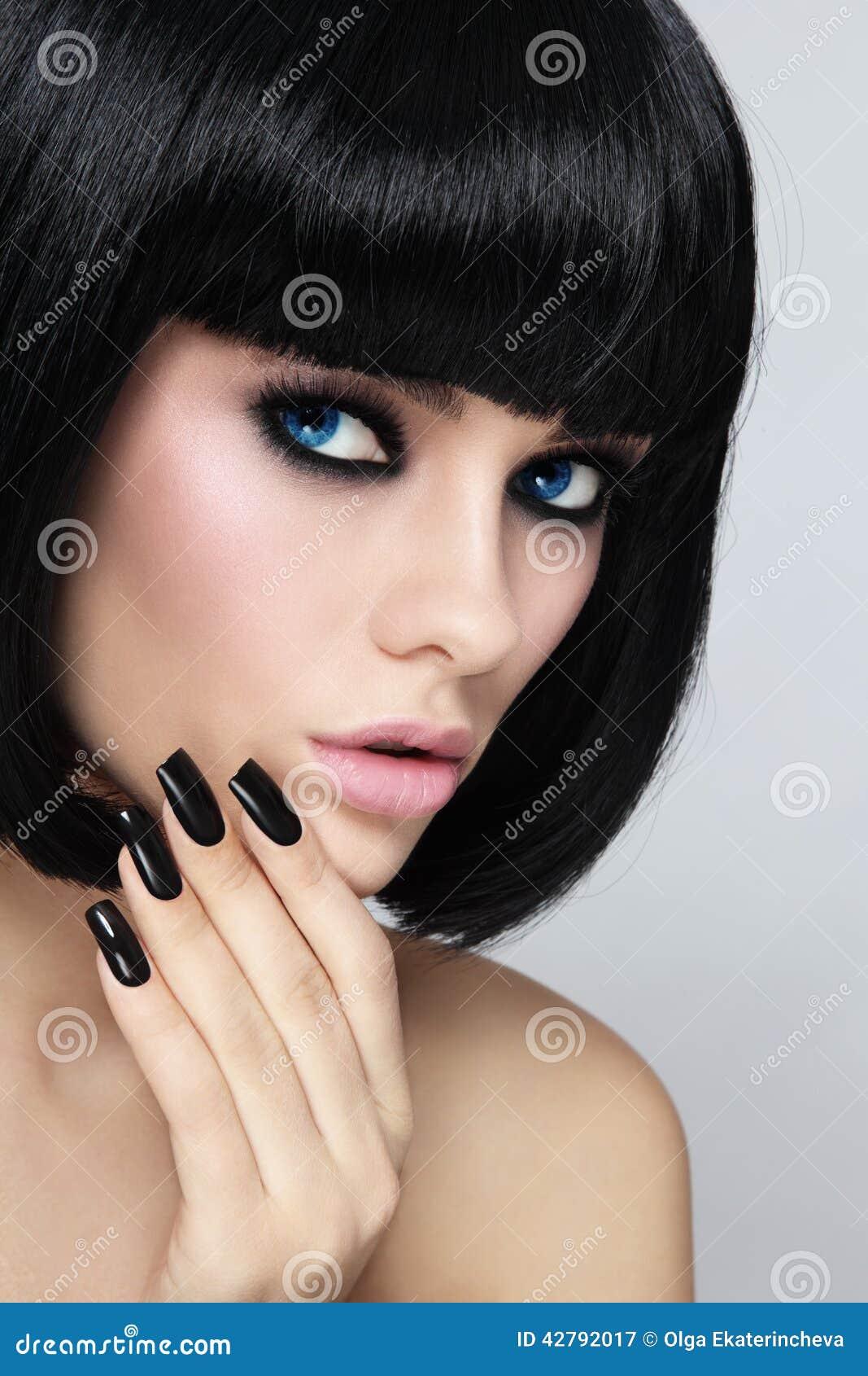 Black Bob And Manicure Stock Image Image Of Lipstick 42792017