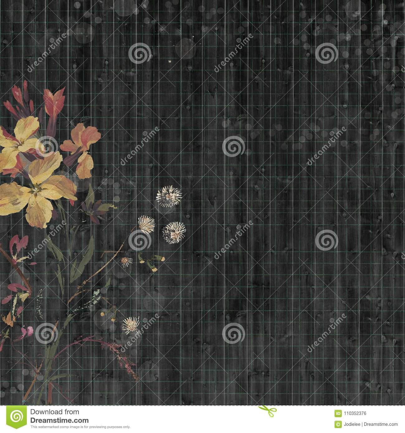 Black Bohemian gypsy floral antique vintage grungy shabby chic artistic abstract graphical ledger paper background with flower