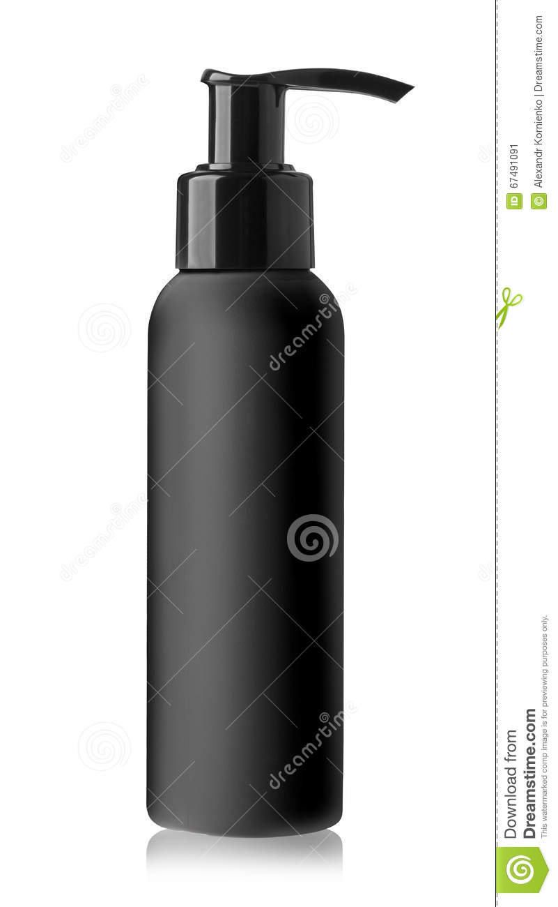 Black bottle of liquid soap