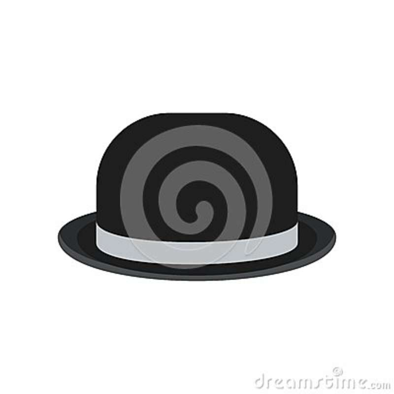 a77eac8080b Black retro vintage man bowler hat for gentlemen. Flat vector cartoon  illustration. Objects isolated on a white background.