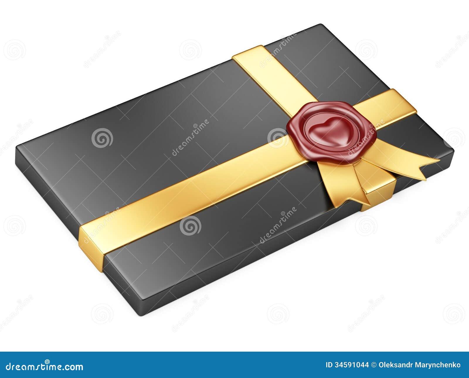 black box with sealing wax and gold ribbon stock illustration