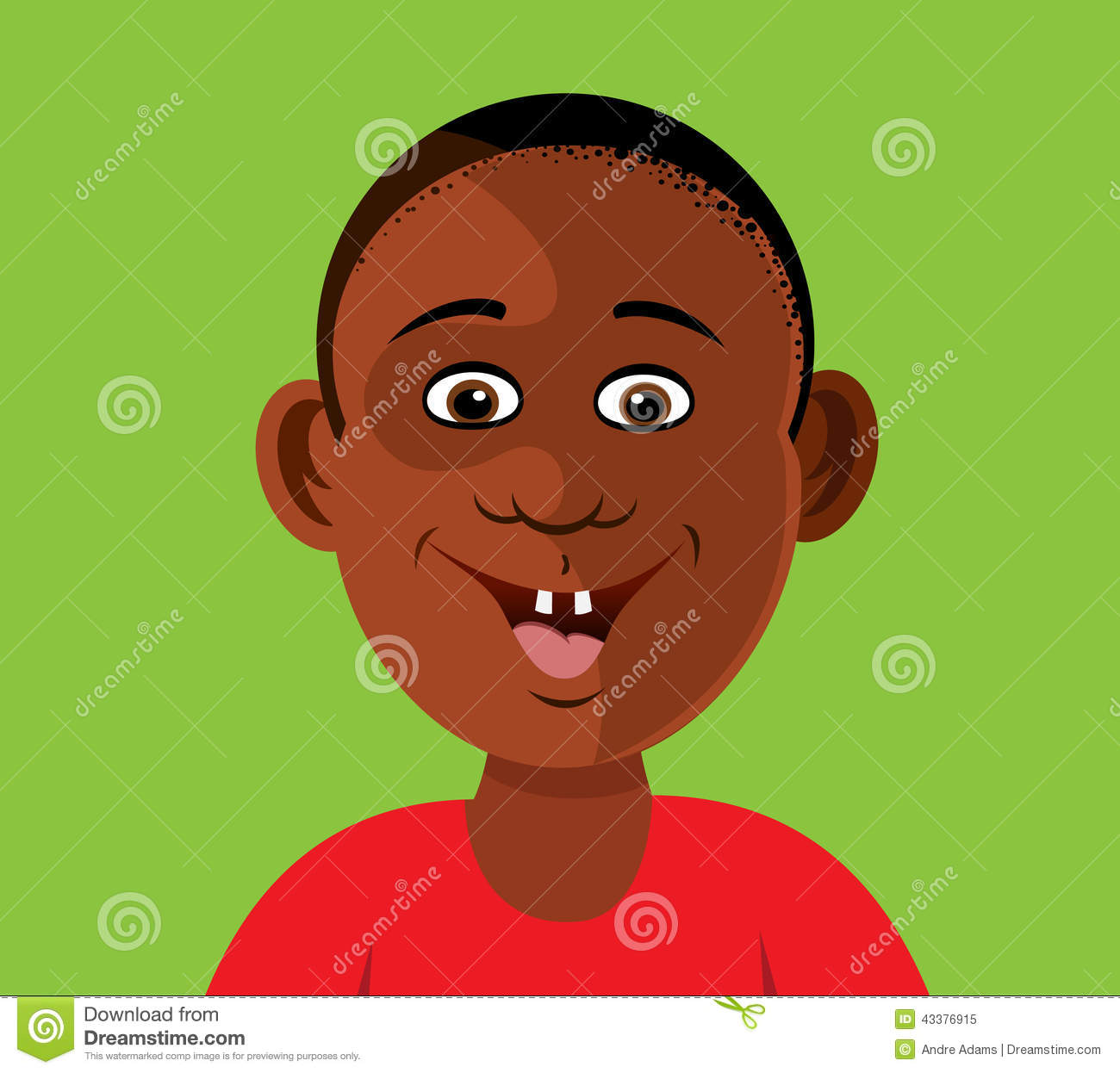 Black Boy Smiling Teeth Stock Illustration - Image: 43376915
