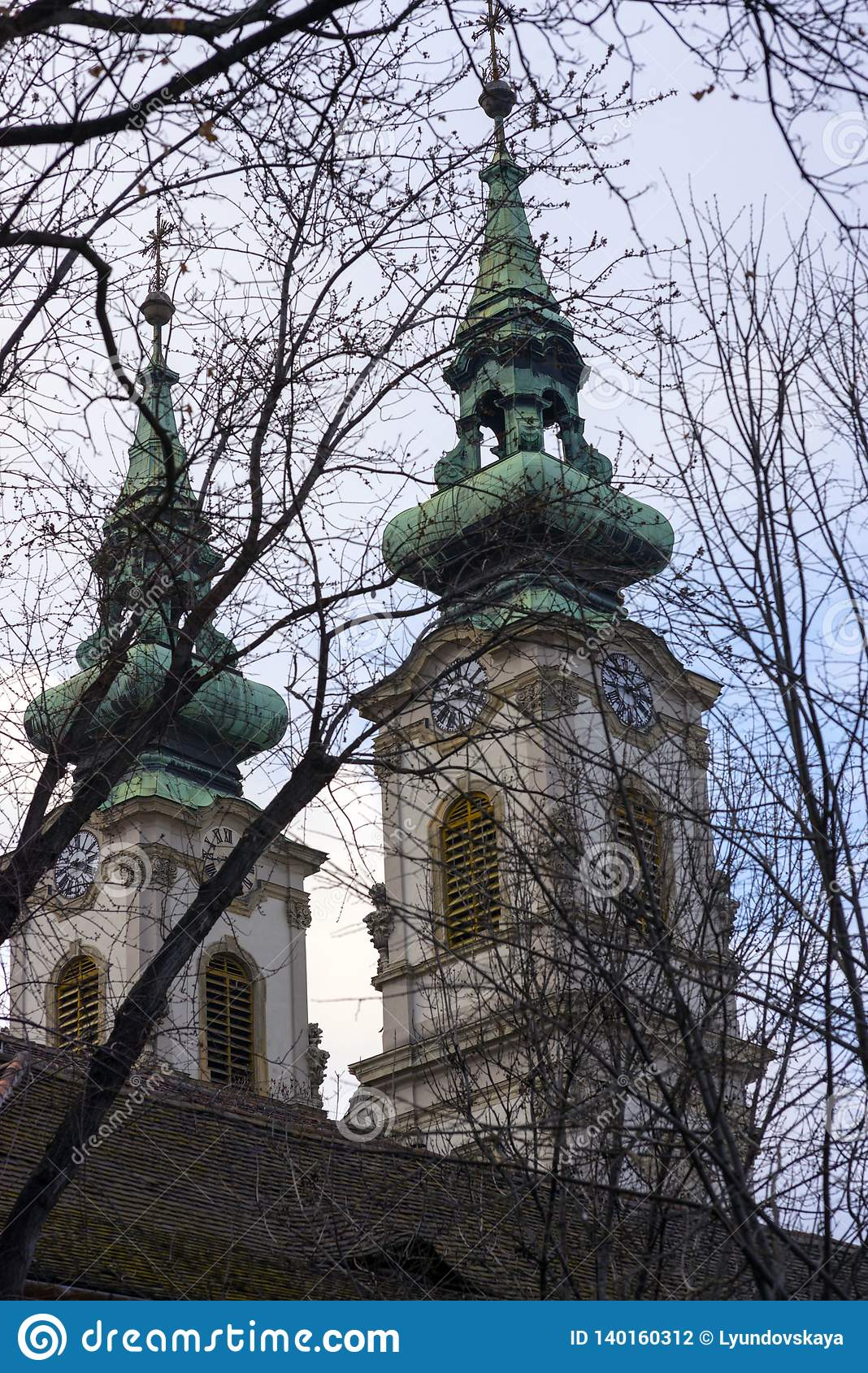 Black branches of trees on the background of the two domes of the Catholic Church of St. Anne in Budapest, on the right bank of th